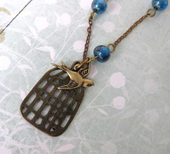 Vintage Bird Cage Charm Necklace. Blue Bead Chain, Antiqued Brass