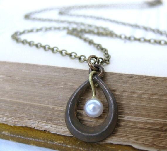 Vintage Pearl Necklace Antiqued Brass Teardrop Charm Pendant