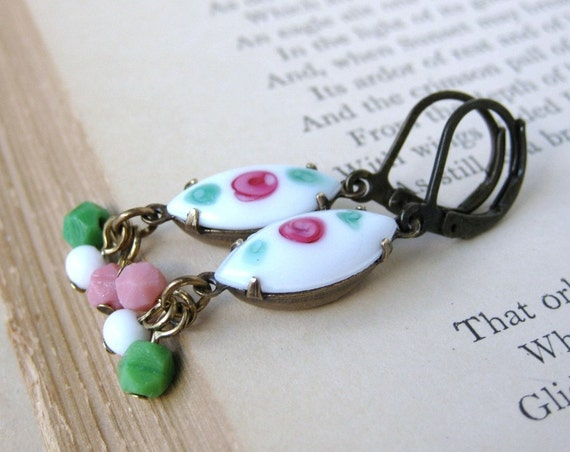 China Blossoms Earrings. Vintage Rhinestones in White, Pink, Green