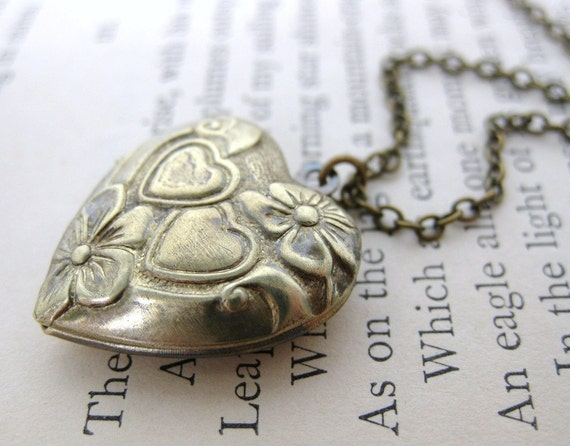 Vintage Locket Necklace Heart Flowers Antiqued Brass Jewelry Two Hearts