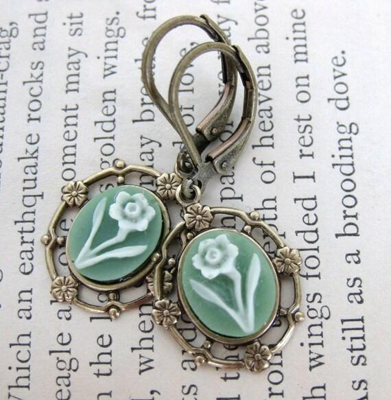 Vintage Flower Earrings Filigree Cameos Sage Green Ivory Narcissus Antiqued Brass Filigree