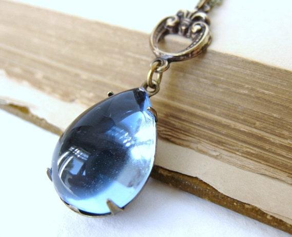Vintage Rhinestone Necklace Sapphire Jewel Antiqued Brass Teardrop Estate Style