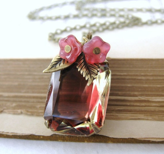 Vintage Rhinestone Necklace Ruby Topaz Jewel Flower Charm Antiqued Brass. Rose Honey