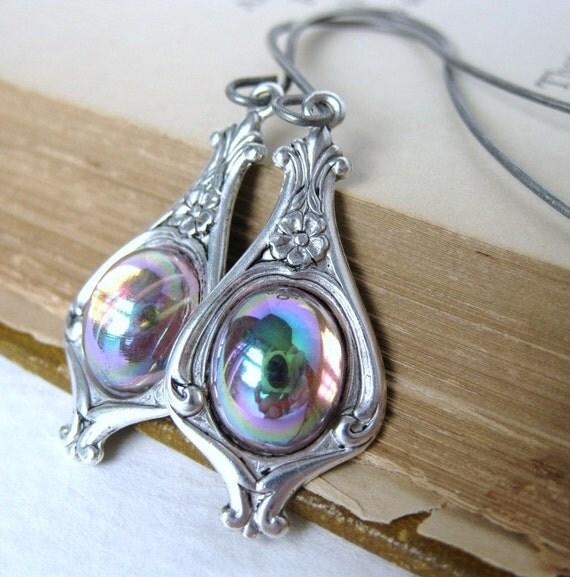 Vintage Earrings Amethyst Glass Antiqued Silver Flower Setting. Orb
