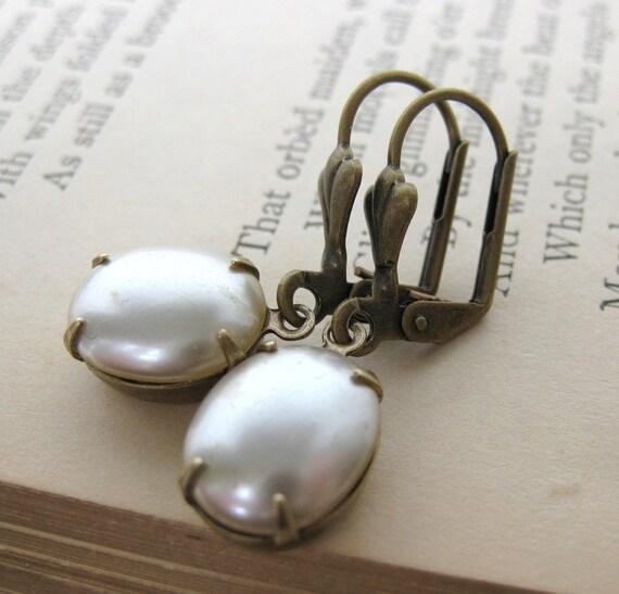 Vintage Rhinestone Pearl Earrings Antiqued Brass Pearl Drops