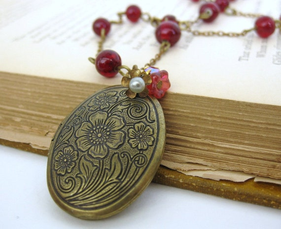 Vintage Locket Necklace Flower Pearl Charm Ruby Rhinestone Brass. Fresh Cherries.