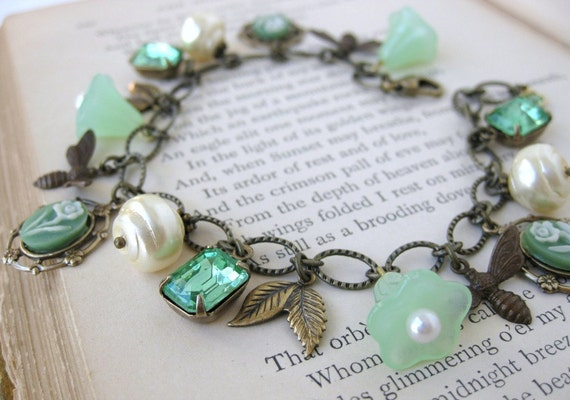 Green Bees Vintage Charm Bracelet Pearls Rhinestones Flowers in Antiqued Brass