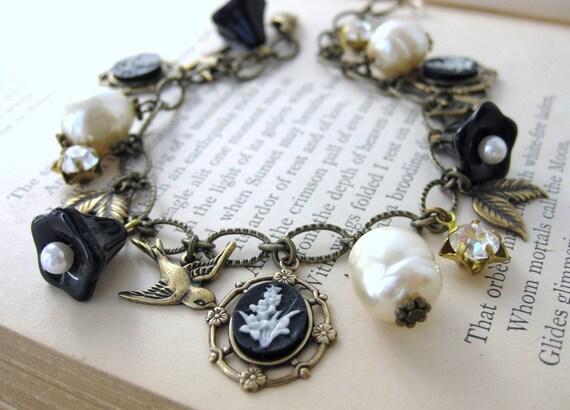 Vintage Charm Bracelet Pearls Rhinestones Flowers in Antiqued Brass Black Tie