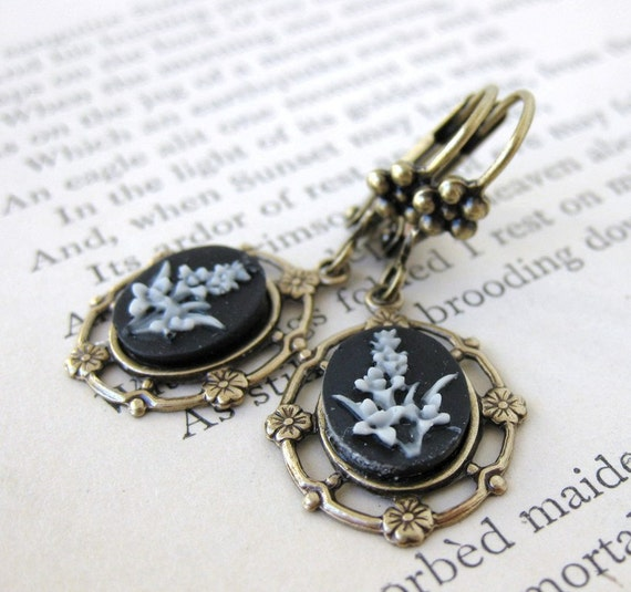 Vintage Flower Earrings Filigree Cameos Black and White Antiqued Brass Black Tie