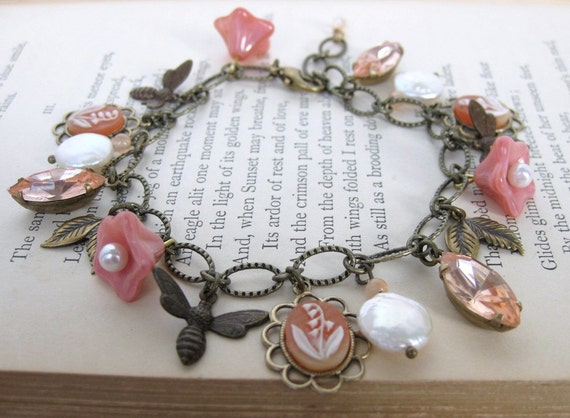 Vintage Charm Bracelet Pearls Rhinestones Flowers in Antiqued Brass Rosaline Blossoms
