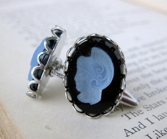 Vintage Cufflinks Glass Cameo Black Blue Warrior Silver Cuff Links