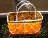 Traditional Bamboo Japanese Shopping basket Orange Slice Medium