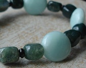 Manifesting, Protective, and Powerful Black Tourmaline, Amazonite, and Moss Agate Bracelet