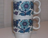 Two Purple, Aqua, and Blue Butterfly Mugs