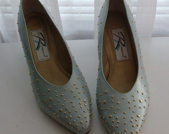Light Pool Blue Studded Ros Hommerson Pumps-Size 9W