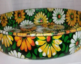 1969 Flower Power Tin Tray