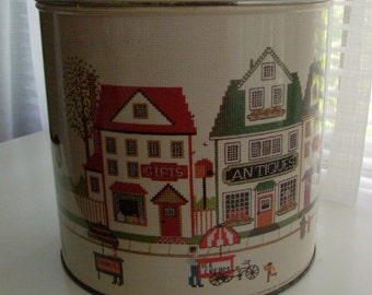 Crosstitch Print Street Scene Tin