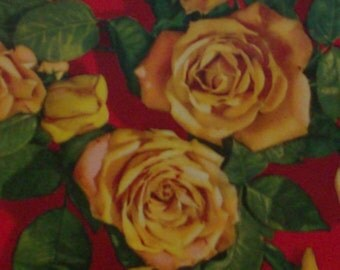 Yellow Roses on Red and Black Tin