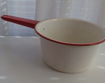 Medium Red and White Enamelware Pan