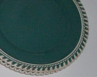 2 Corinthian Teal Dessert Plates and Saucer by Harker Ware