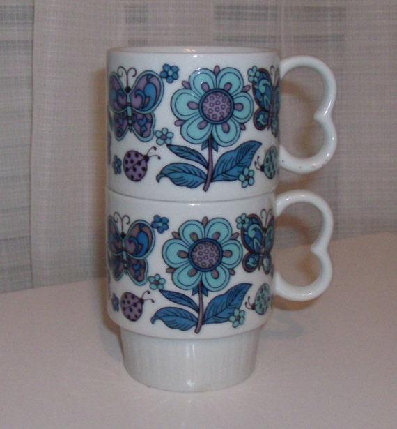 Two Purple, Aqua, and Blue Butterfly Mugs