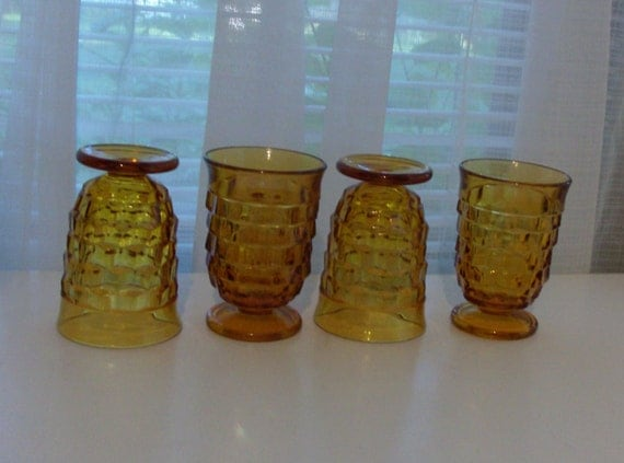 4 Footed Amber Juice Glasses by Indiana Glass