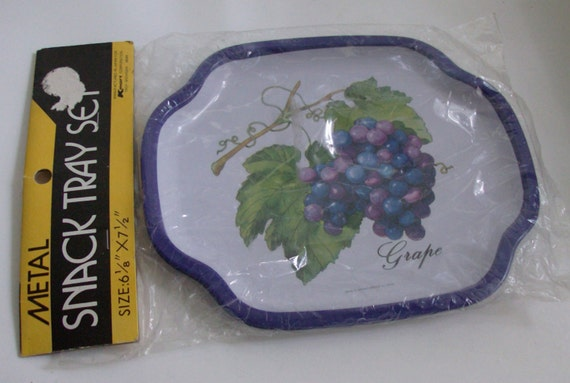 2 Small Metal Snack Trays With Grapes in the Original Package