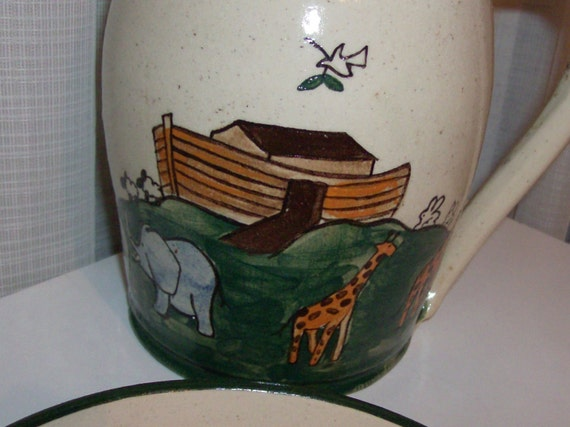 1978 Hand-Turned Noah's Ark Pitcher, Bowl and Votive