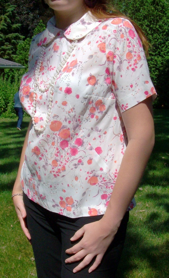 Whipped Cream Blouse With Peach and Hot Pink Floral Design