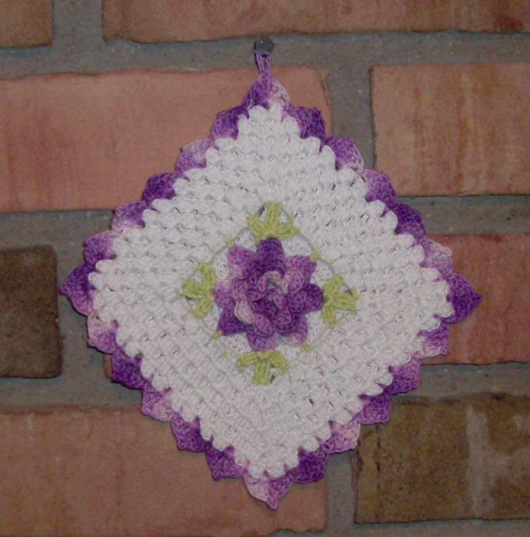 Fancy flower crocheted pot holder for Fancy flower pots