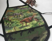 Toddler Reversible Dinosaurs and camuflage Apron (Ages 1 to 3) for cooking,pretend play or as an art smock