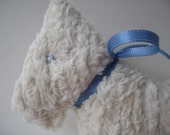 White chenille with blue ribbonbaby rattle Sammy the dog- Scottish dog