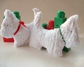 Scottish dog toy rattle -White chenille soft toy with Christmas colors ribbon