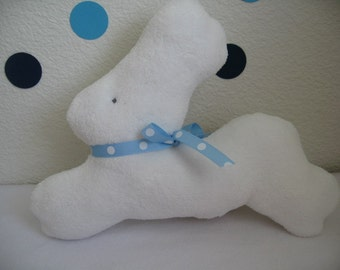 Bunny Plush Baby Toy Rattle-Stuffed Animal-White soft fleece with light blue polka dots ribbon- Handmade