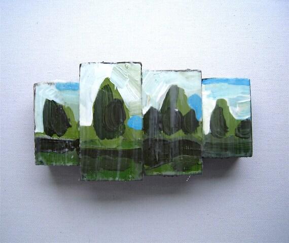 Short Green Hike - Original Encaustic Painting