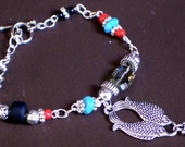 SALE ...set, Turquoise and Red Coral / Necklace and Bracelet