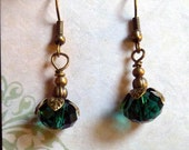 Pine Berries..Forest Green vintage style EARRINGS, Faceted glass