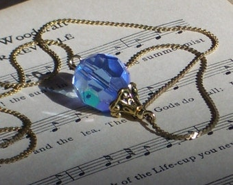 Faceted Blue Aurora Borealis Necklace with Vintage chain