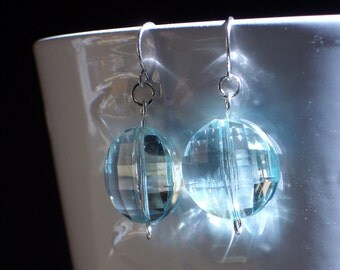 50% OFF..Faceted Aqua Blue Crystal EARRINGS, lightweight acrylic