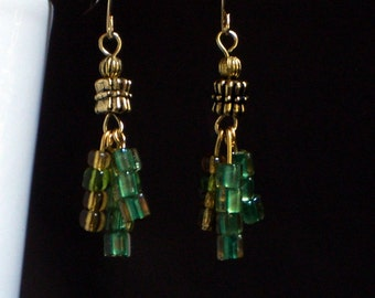 50% OFF..Glass Tassel earrings, Green