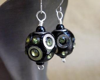 50% OFF...MOD Dangle Earrings, Black Silver with Peridot rhinestones, lightweight