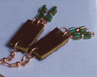 for the love of leather Earrings, brown and green