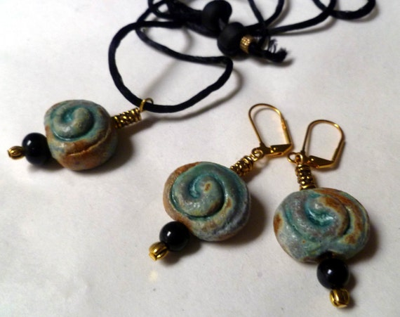 55% OFF..Such a DEAL...Handmade ceramic, Necklace and Earring set, Turquoise, Verdigris