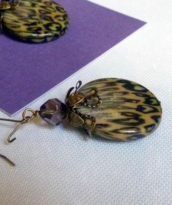 Dark Lavender LEOPARD Earrings, pierced