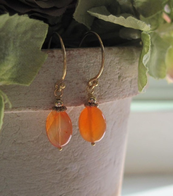 Carnelian Orange Earrings in Autumn Shades of Orange Spring Fashion Gift Idea Under 30 by Vintagerelics