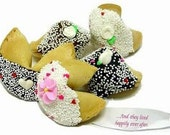 Custom order-50 Chocolate dipped Fortune Cookies -pink/black
