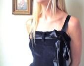 Vintage Navy Blue Velvet Dress with Black Ribbon