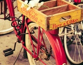 Red Schwinn Bicycle and Yellow Coca Cola Crate - Bicycle Art - New York Photography - Rustic Home Decor - Bike Art - Fine Art Photography
