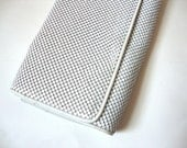 mesh clutch purse white large