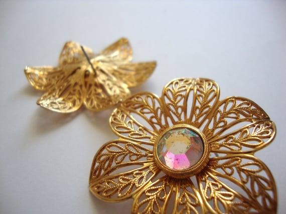 Peirced Aurora Borealis Flower Earrings